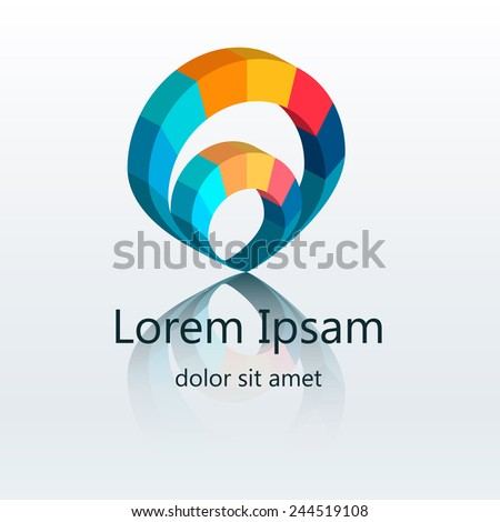 Vector 3d colorful abstract logo design elements in circle form. Corporate identity. - stock vector