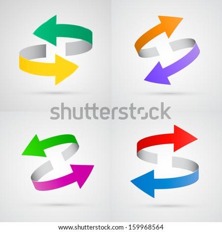 vector 3d colorful arrows set - stock vector