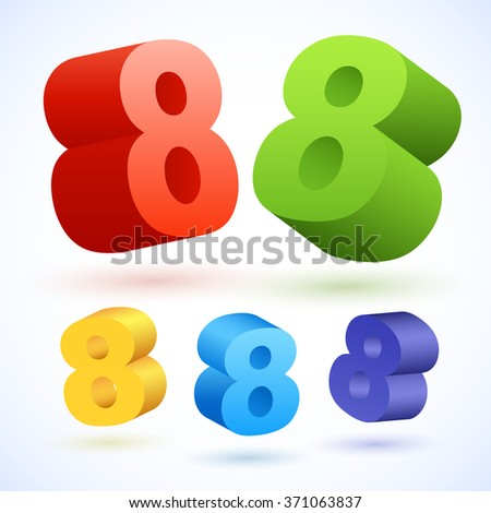 Vector 3D colorful numbers. Number 8