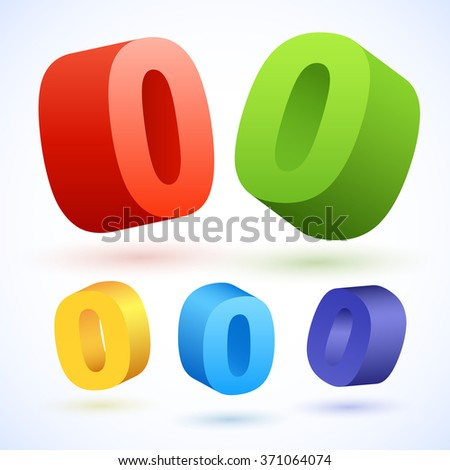Vector 3D colorful numbers. Number 0 - stock vector