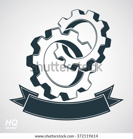 Vector 3d conceptual industry system design element, cog wheels merged, gears with decorative curvy ribbon. Engineering project conceptual symbol. - stock vector