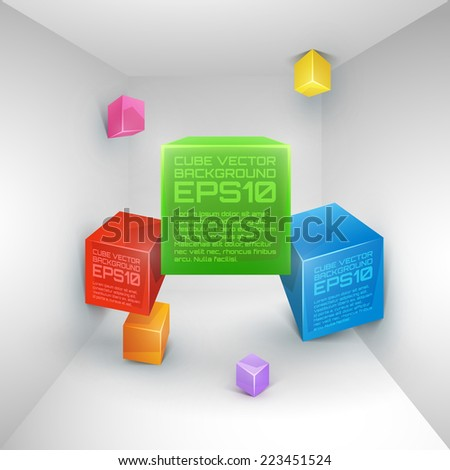 Vector 3d cube colorful abstract background. - stock vector