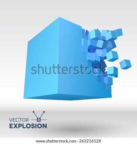 Vector 3D cube object explosion with cubical particles - stock vector
