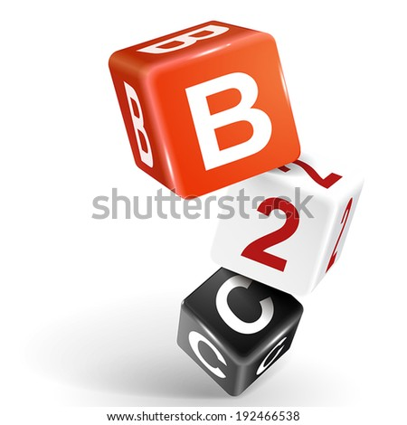 vector 3d dice with word B2C business to consumer on white background - stock vector