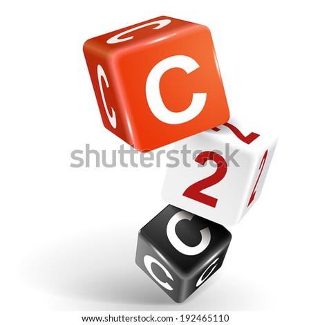 vector 3d dice with word C2C client to client on white background - stock vector