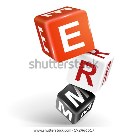vector 3d dice with word ERM enterprise risk management on white background