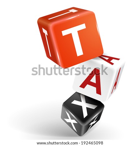 vector 3d dice with word TAX on white background - stock vector