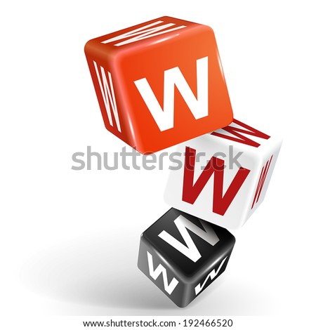 vector 3d dice with word WWW World Wide Web on white background - stock vector