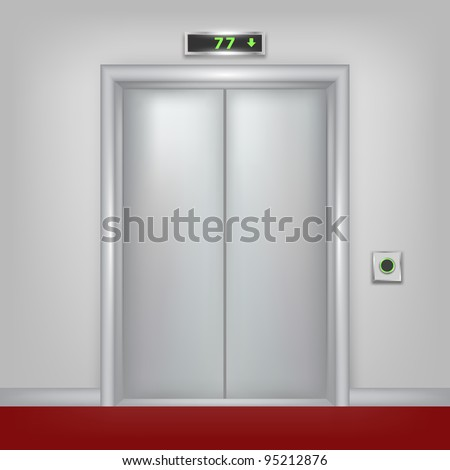 Vector 3d elevator with closed doors. Part of set. - stock vector