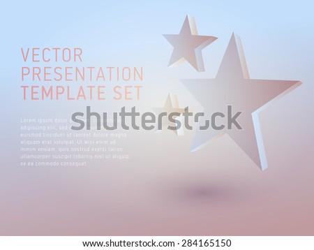 vector 3d empty template stars - stock vector