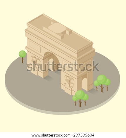 Vector 3d flat isometric monument of triumphal arch in Paris - stock vector
