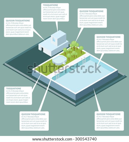Vector 3d flat isometric office building roof with water pool - stock vector
