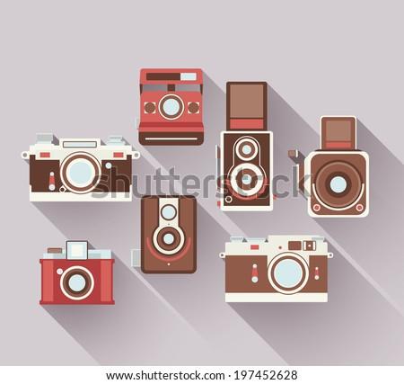 Vector 2D Flat Retro Cameras - stock vector