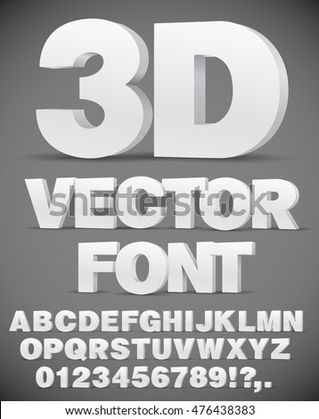 Vector 3D flat style font. Set of letters and numbers in EPS10