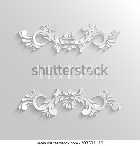 Vector 3d Floral Invitation Card in Vintage Style - stock vector
