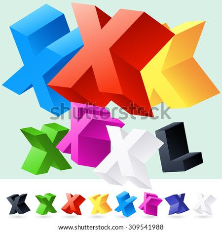 Vector 3D font of randomly rotated colourful letters. All letters in alphabet have 8 random points of view. Letter X - stock vector