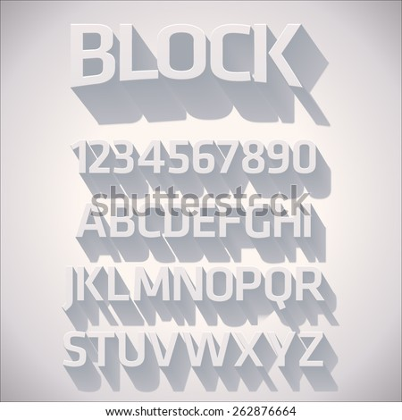 Vector 3D Font with shadow - stock vector