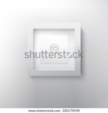 Vector 3d gallery frame in a three dimensional mock up render style as an interior design text box element. For infographics, picture framing, content holder 1/1 square shape - stock vector