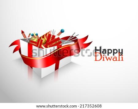 Vector 3d gift box of Diwali crackers for Diwali festival. - stock vector