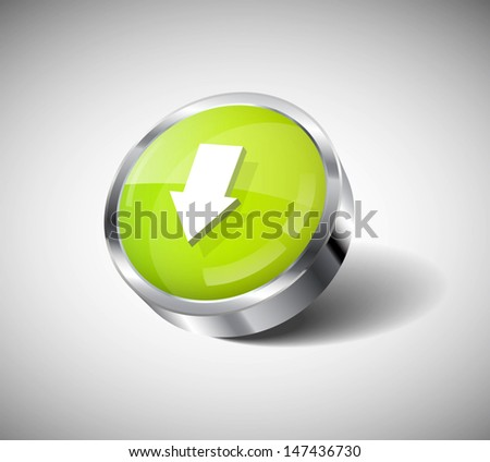 Vector 3d glass and steel glossy round button - download