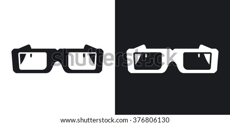 Vector 3D Glasses Icon. Two-tone version on black and white background - stock vector