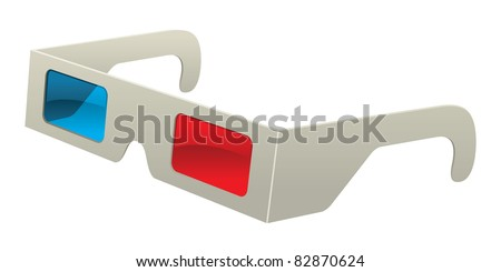 Vector 3D Glasses (the old red and blue stereoscopic kind). - stock vector