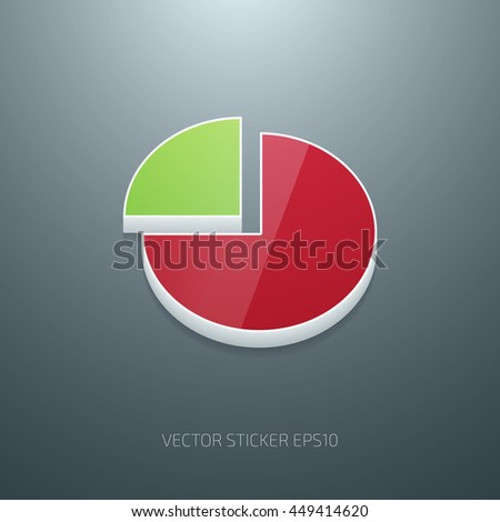 Vector 3d glossy plastic pie chart icon - stock vector