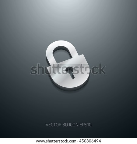 Vector 3d glossy stainless steel metal padlock icon