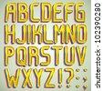 Vector 3d gold font ABC a-z - stock vector