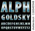 vector 3d golden alphabet with blue sky reflection - stock vector