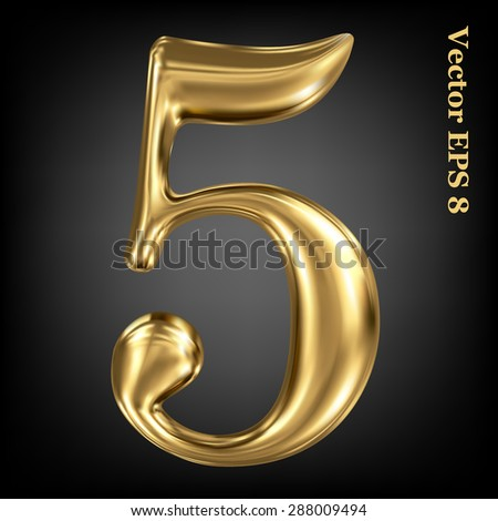 Vector 3d golden number collection - 5. Eps 8 using mesh. - stock vector