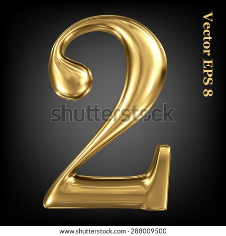 Vector 3d golden number collection - 2. Eps 8 using mesh. - stock vector
