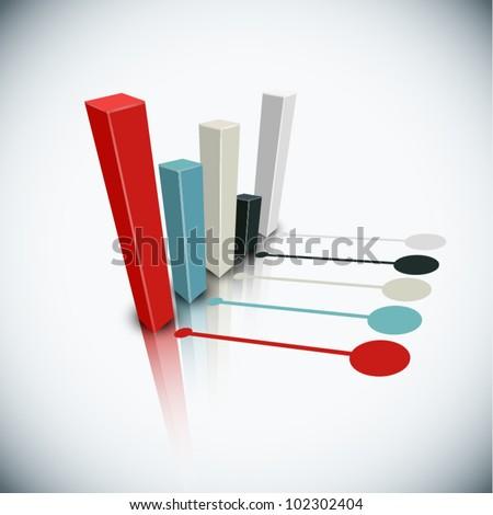 Vector 3d graph - stock vector