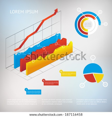 vector 3d graph modern infographic elements, business or analytics template - stock vector