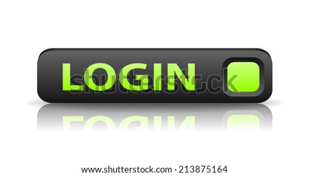 vector 3D gray web button with green sign login and reflection - stock vector