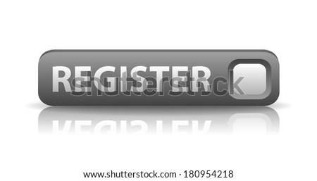 vector 3D gray web button with white sign register and reflection - stock vector