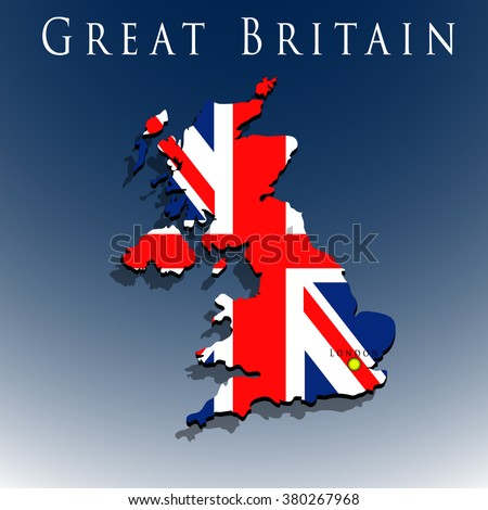 vector 3d Great Britain map with a flag on a blue background, EPS 10