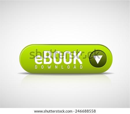 Vector 3d green e-book download button - stock vector