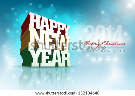 Vector 3d Happy New Year design template. Elements are layered separately in vector file. - stock vector