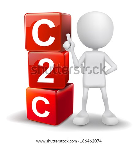 vector 3d human with word C2C client to client cubes on white background - stock vector