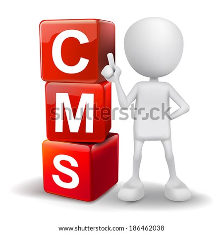 vector 3d human with word CMS content management system cubes on white background - stock vector