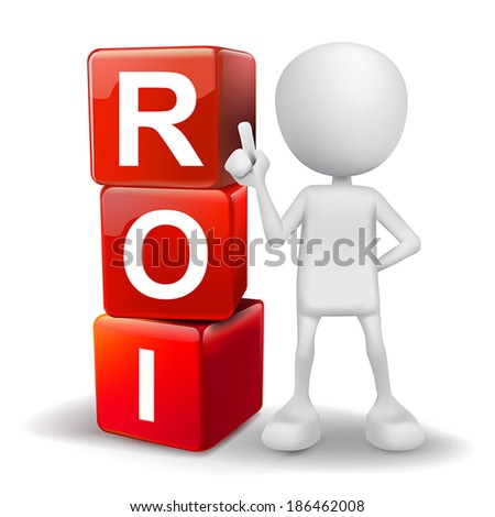 vector 3d human with word ROI return on investment cubes on white background - stock vector