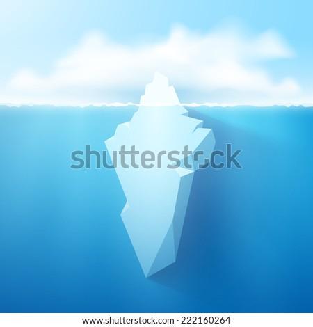 Vector 3d iceberg concept illustration. - stock vector