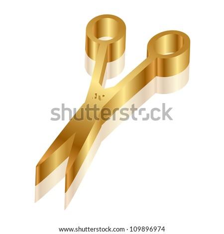 Vector 3d icon of gold scissors - stock vector