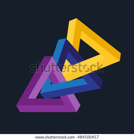 Vector 3D illusion triangles chain. Connected color geometric shapes.
