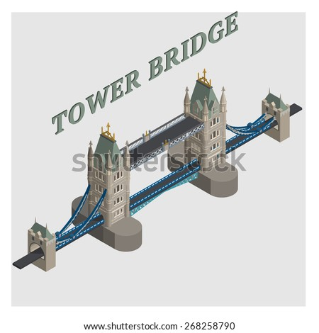 vector 3d illustrated tower bridge london england - stock vector