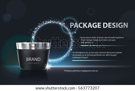Vector 3D illustration for the promotion of cosmetic moisturizing premium product, matt black jar with the lid closed