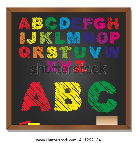 Vector 3D illustration of concept or conceptual set or collection of colorful handwritten, sketch or scribble font, black school blackboard background for education, childhood, artistic or children - stock vector