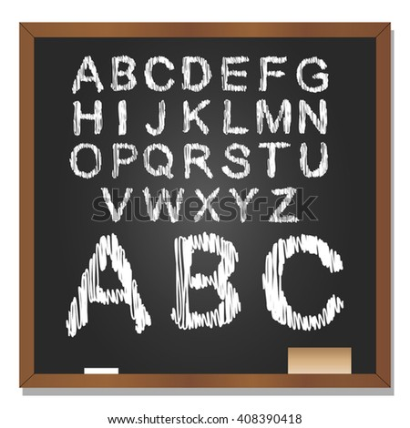 Vector 3D illustration of concept or conceptual set or collection of white grungy handwritten, sketch or scribble font, black school blackboard background for education, childhood, artistic, children - stock vector