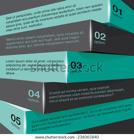 Vector 3D infographic chart brick list with cool triangle geometric texture. Business template. Can be used for workflow layout, banner, diagram, web design, presentation, infographic template. Vector - stock vector